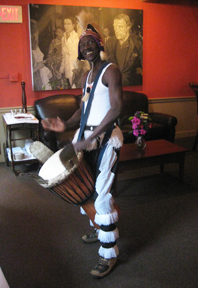 Sayon Camara on Djembe at The Prince and Pauper Restaurant