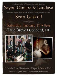 Sayon Camara and Landaya and Sean Gaskell on kora at True Brew, Concord NH