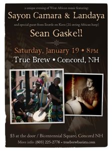 Sayon Camara and Landaya and Sean Gaskell on kora at True Brew, Concord NH