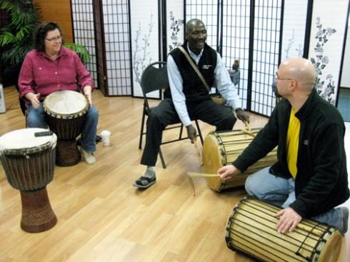 Sayon Camara teaching Keene NH students West African music.