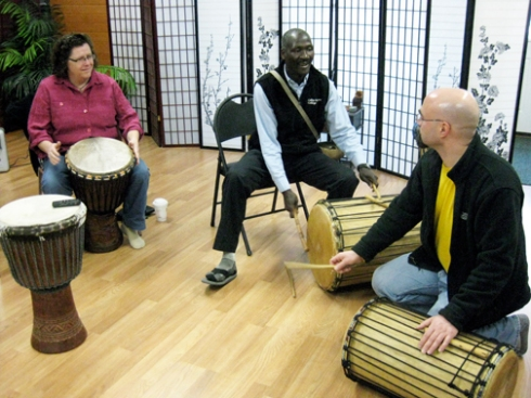 Sayon Camara teaching Keene NH students West African music.