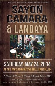 poster for sayon camara and landaya performance at the mill on May 24