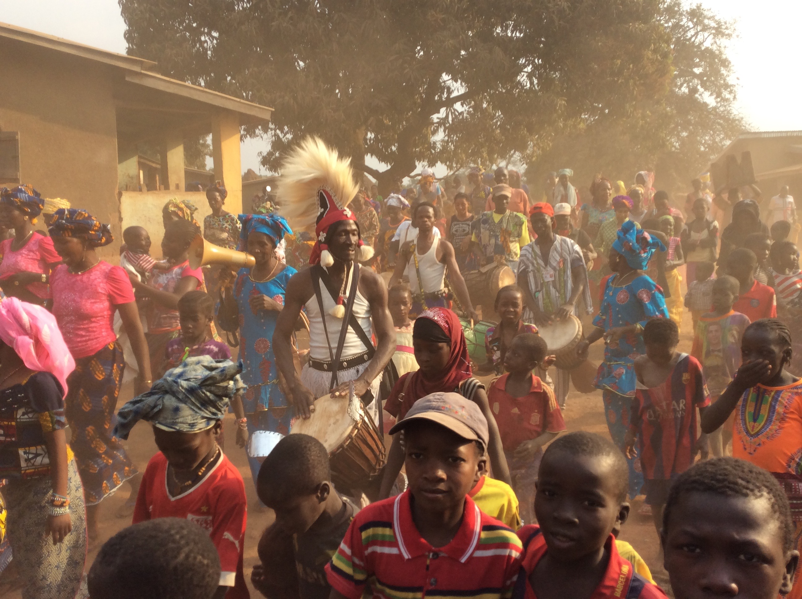 Sayon Camara as the djembefola in his village during a recent celebration of the new wells in the village.